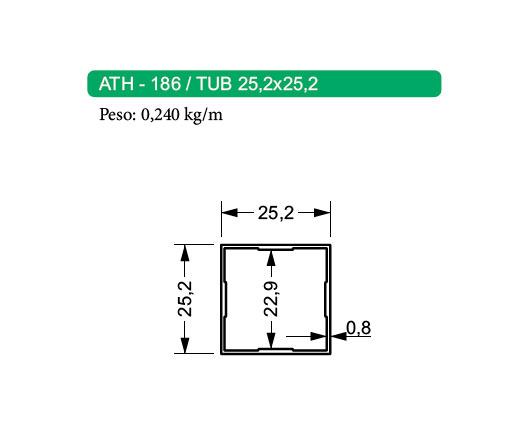 Tubos de Aluminio Quadrado ATH-186